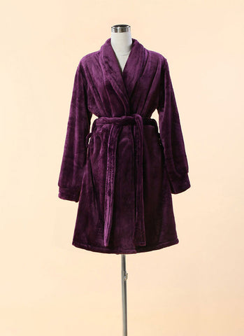 Extra Thick & Soft Bathrobe - Short Slim Fit Purple Bathrobe