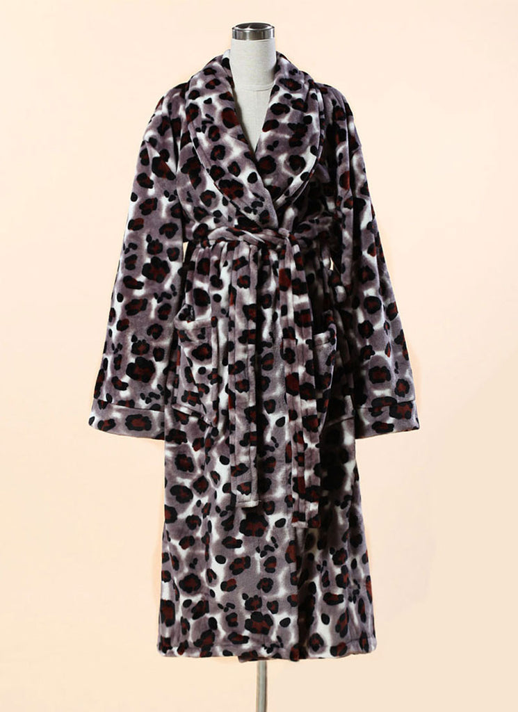 Extra Thick Micro Fiber Bathrobe - Leopard Print Soft Fleece Bathrobe 3