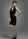 Open Back Black Halter Mini Sheath Dress
