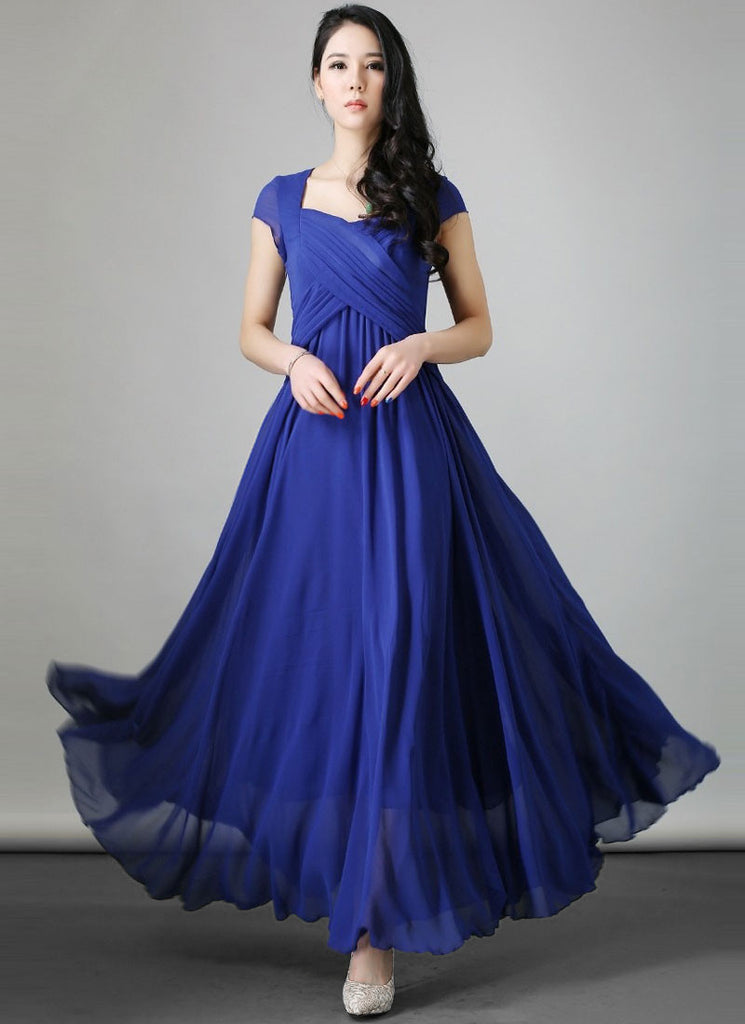 Royal Blue Maxi Dress with Cross-over Pleated Bodice and Modified Sweetheart Neck