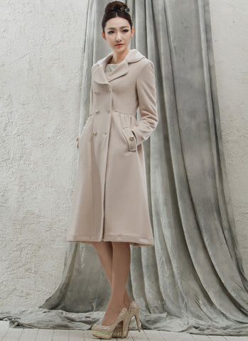 Double Breasted Antique White Cashmere Wool Coat RB54