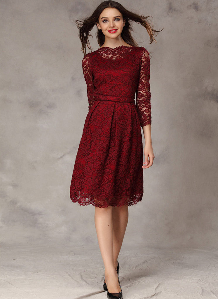 Maroon Lace Mini Dress with Scallop and Eyelash Details
