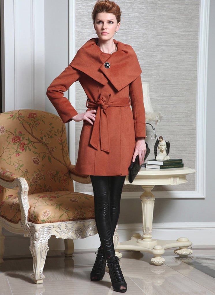 Dark Orange Cashmere Wool Coat with Shaw Collar