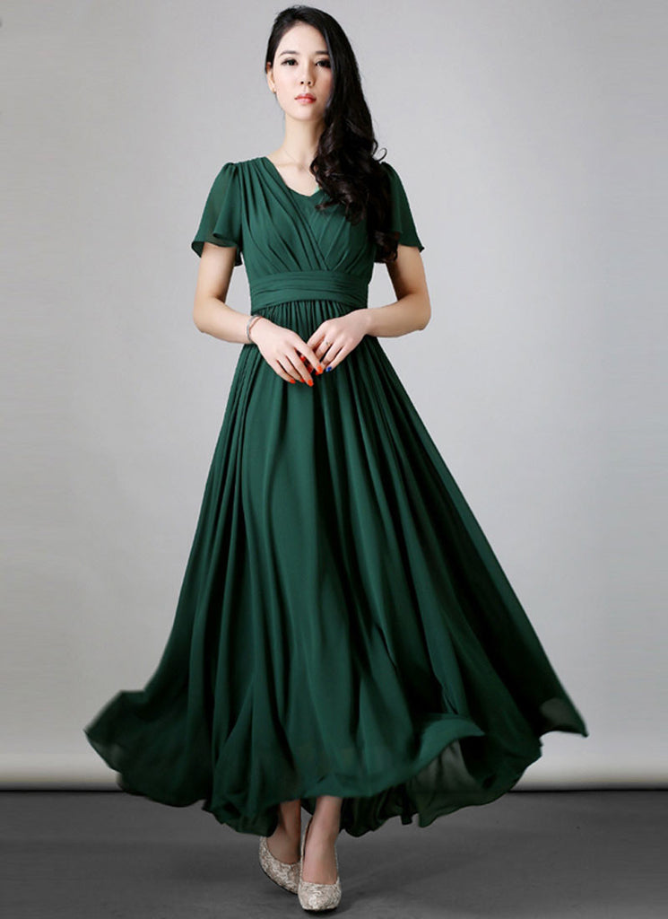 Dark Green Maxi Dress with Layered Front Bodice and Flutter Sleeves