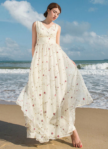 7b62f26ba0aa Floral Embroidered Lace Maxi Dress with Draw String Waist Yoke RM222