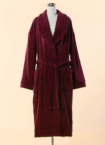 Extra Thick Maroon Terry Bathrobe - 100% Cotton Shawl Collar Terry Cloth Bathrobe