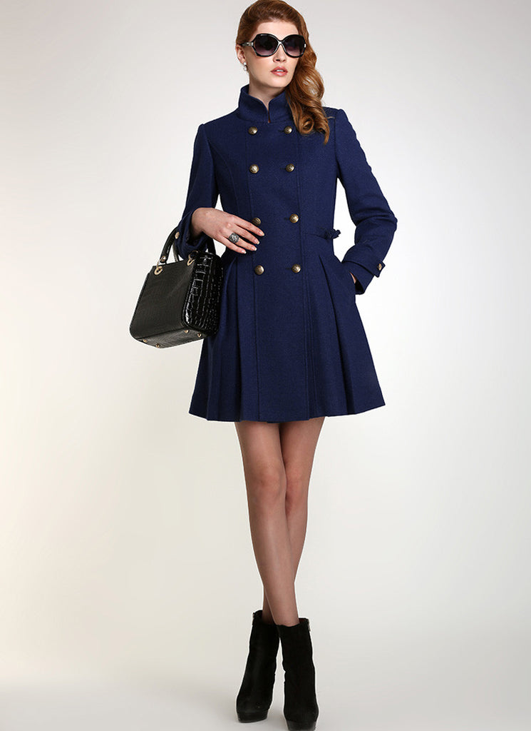Double Breasted Dark Blue Cashmere Wool Coat with Stand Collar