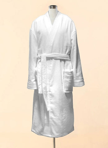 White Velour Terry Kimono Bathrobe - 100% Cotton Bathrobe
