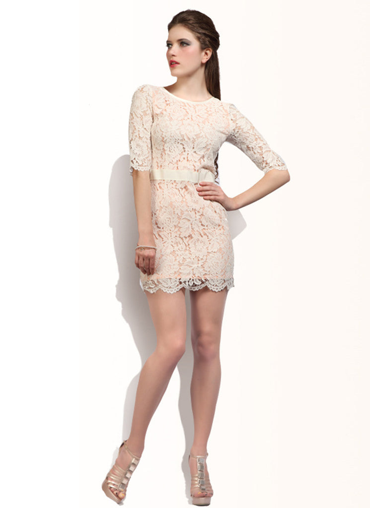 Off White Lace Sheath Dress with V Back & Half Sleeves