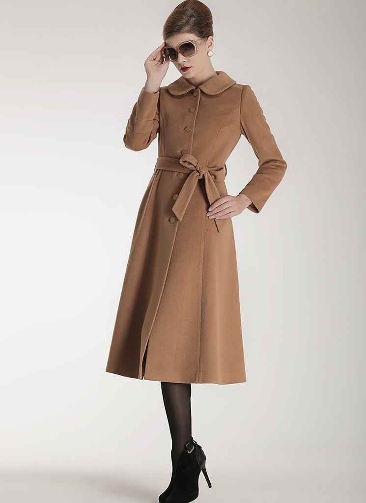 Single Breasted Peru Cashmere Wool Coat with Peter Pan Collar