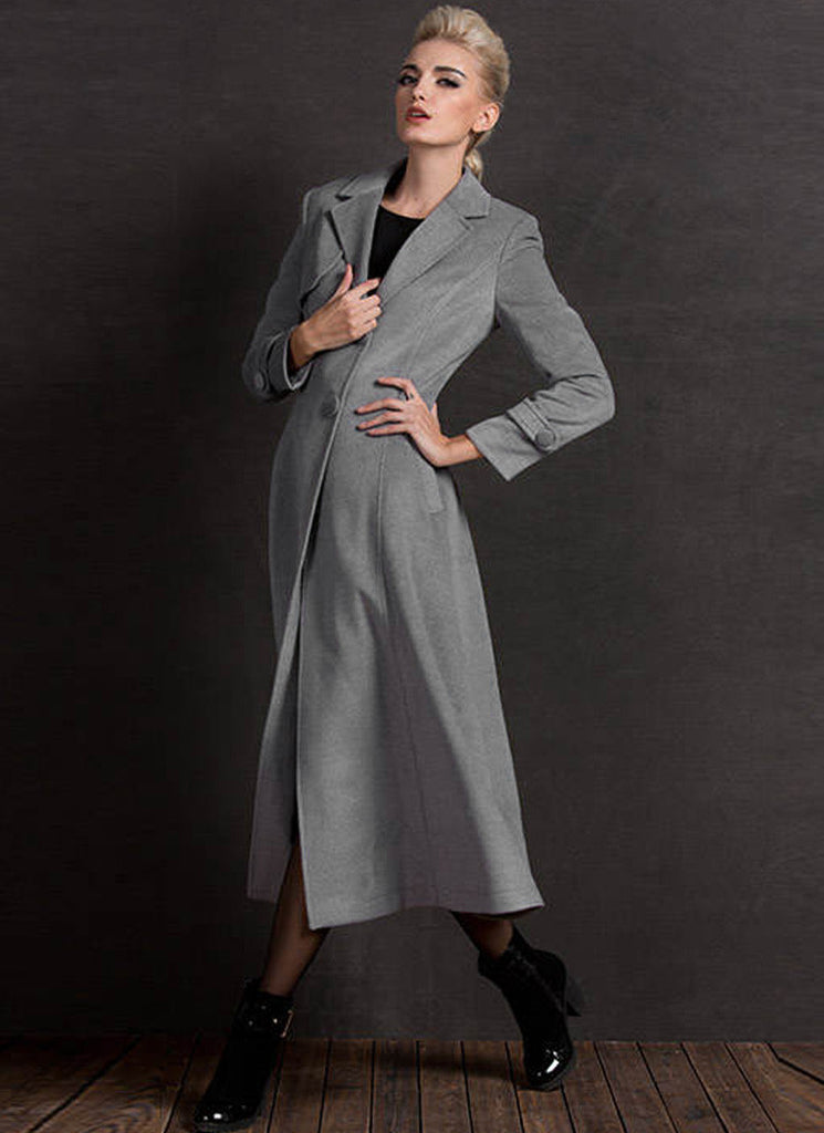 Long Light Gray Cashmere Wool Coat