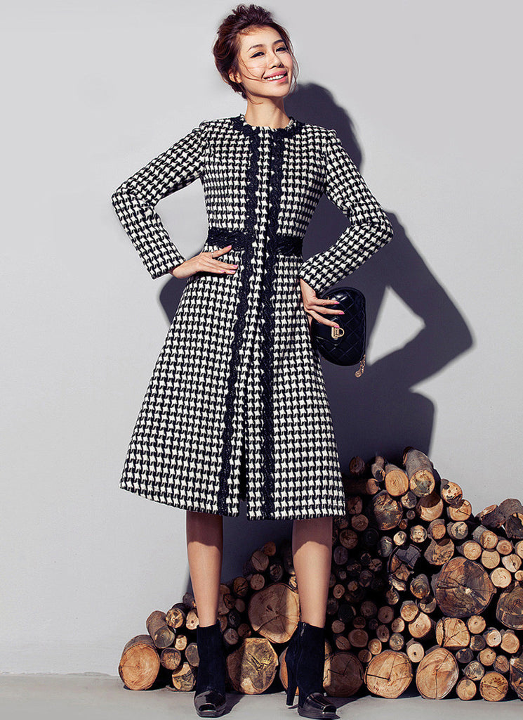 Houndstooth Wool Coat with Lace Details and Belt