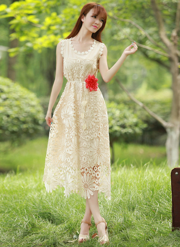 Beige Sunflower Lace Midi Dress with Daisy Lace Trim Details RM101