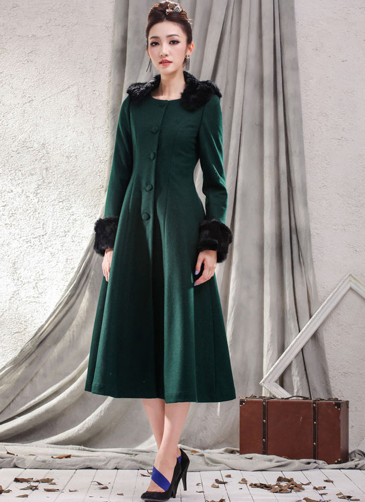 Green Cashmere Wool Coat with Faux Fur Collar and Cuff