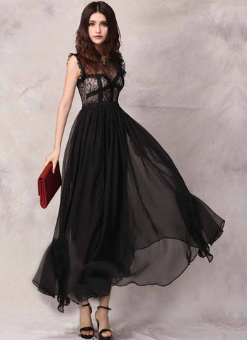 Black Lace & Chiffon Maxi Dress with Piping & Ruffle Details RM49