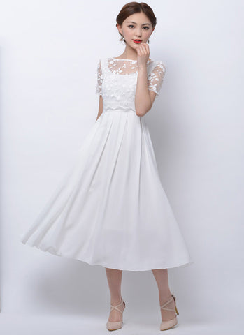 White Embroidered Floral Lace Chiffon Midi Dress RM75