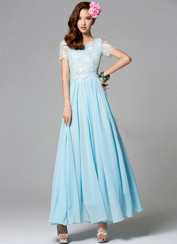 Light Blue Embroider Lace Chiffon Maxi Dress with Floral Appliqué RM252