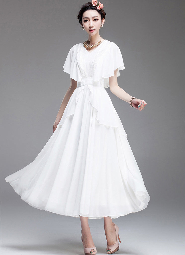 Layered White Maxi Dress with Pleated Waist & Flutter Sleeves