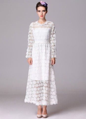 Long Sleeve White Rose Lace Maxi Dress with Scalloped Hem RM226