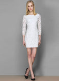 White Lace Sheath Dress with PU Leather Appliqué