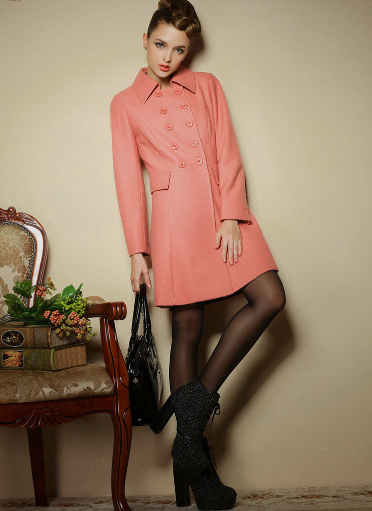 Double Breasted Short Coral Cashmere Wool Coat