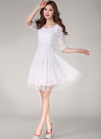White Lace Chiffon Fit and Flare Mini Dress with Beaded Appliqué RD260