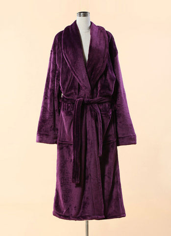 Extra Thick Micro Fiber Bathrobe - Soft Purple Fleece Bathrobe w. Shawl Collar