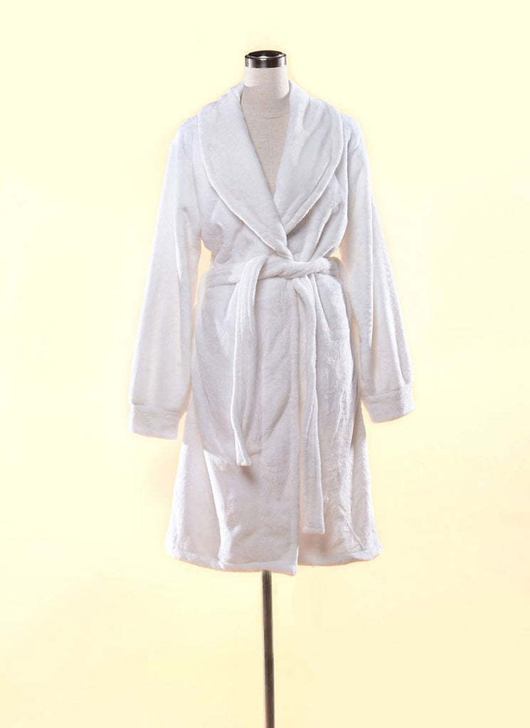 Extra Thick & Soft Bathrobe - Short Slim Fit White Bathrobe