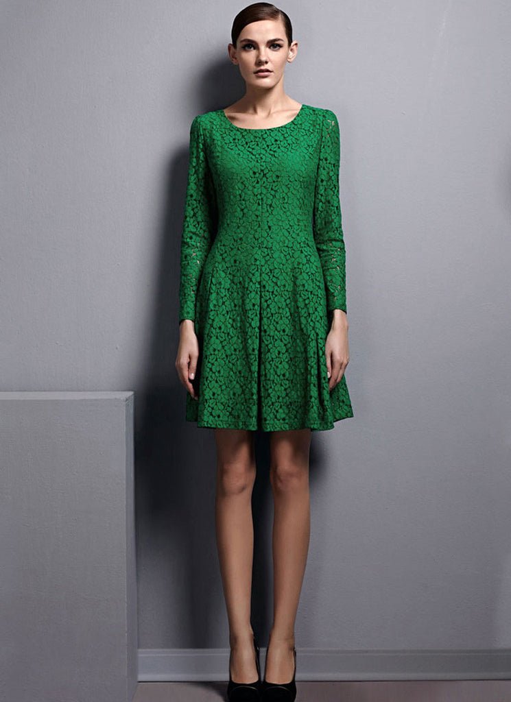 Long Sleeve Green Lace Mini Dress