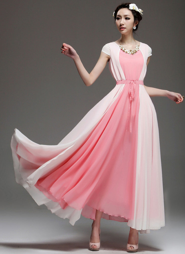 Pink Maxi Dress with White Asymmetric Overlay