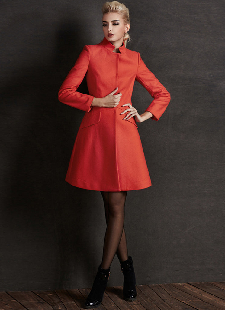 Short Orange ALine Cashmere Wool Coat