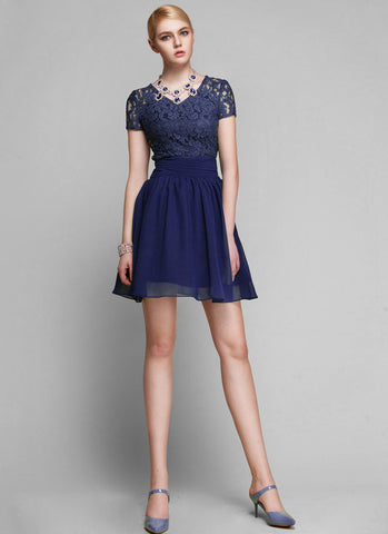 Dark Blue Lace Chiffon Mini Dress with Ruched Waist Yoke R12
