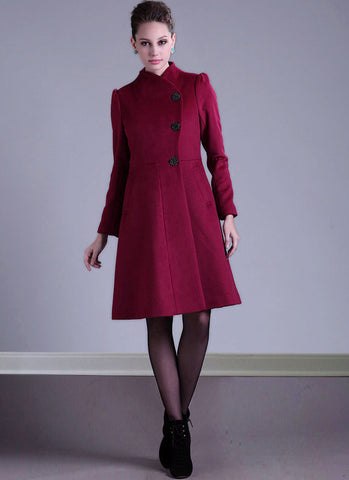 Single Breasted Deep Pink Cashmere Wool Coat with Puff Sleeves RB18