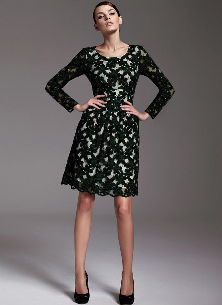 Long Sleeve Black Lace Aline Dress with Wide Waist Yoke