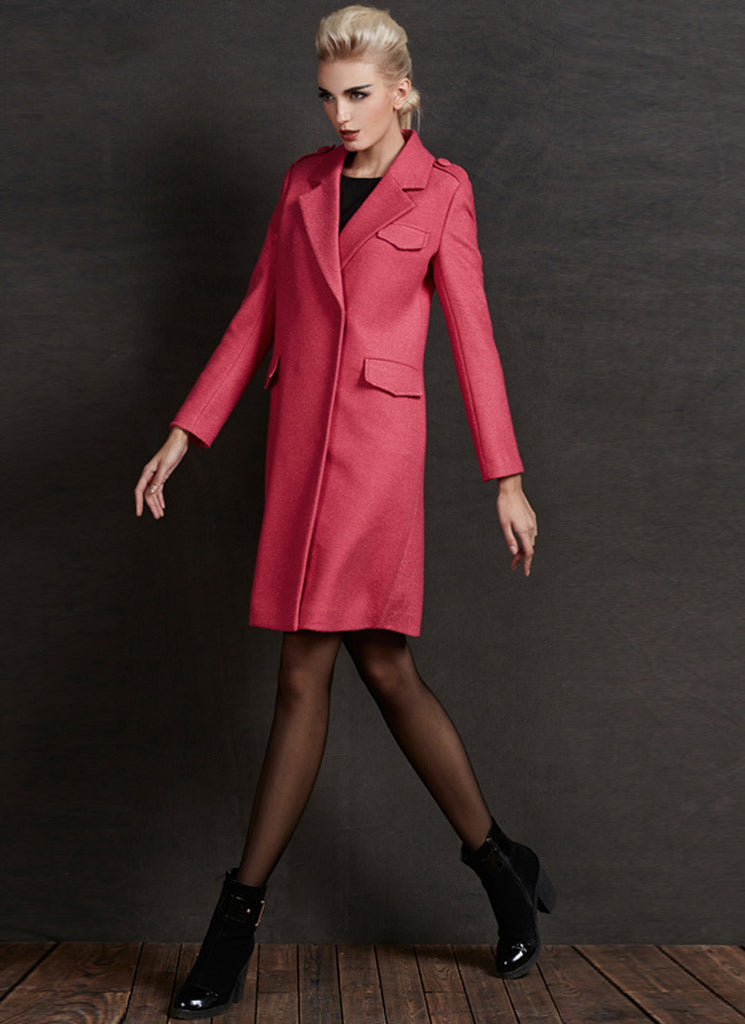 Short Hot Pink Cashmere Wool Coat