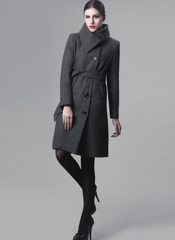 Dark Gray Cashmere Wool Coat with Asymmetric Stand Collar