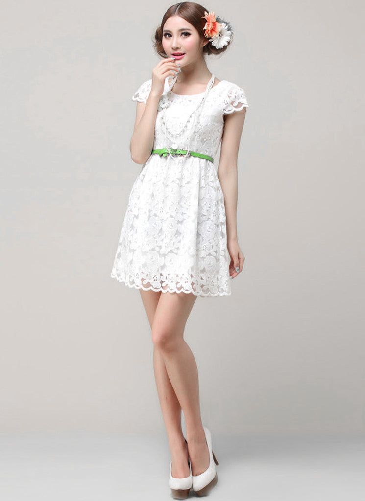 White Lace A Line Mini Dress with Cap Sleeves