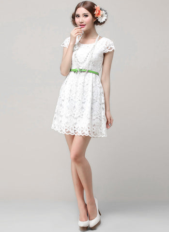 White Lace A Line Mini Dress with Cap Sleeves R60