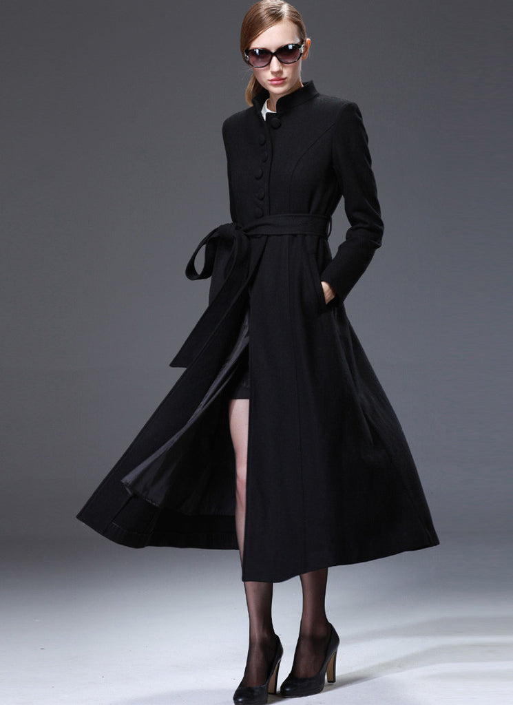 Black Cashmere Wool Coat with Stand Collar & Lace Details