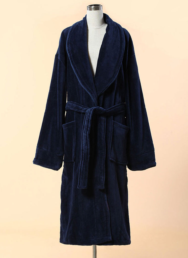 Extra Thick Navy Velour Bathrobe - Shawl Collar Cotton Bathrobe with Piping