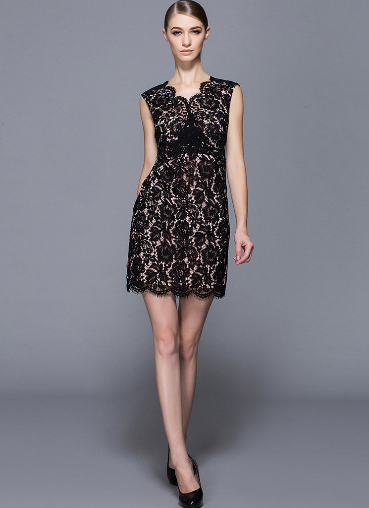 V Neck Black Lace Mini Dress with Nude Pink Lining and Eyelash Details