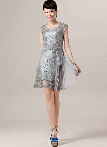 Silver Gray Lace Mini Dress with Asymmetric Pleated Skirt Insertion RD273