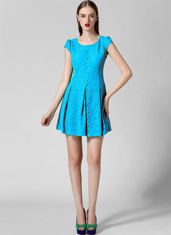 Cyan Lace Fit N Flare Mini Dress with Puff Cap Sleeves RD264