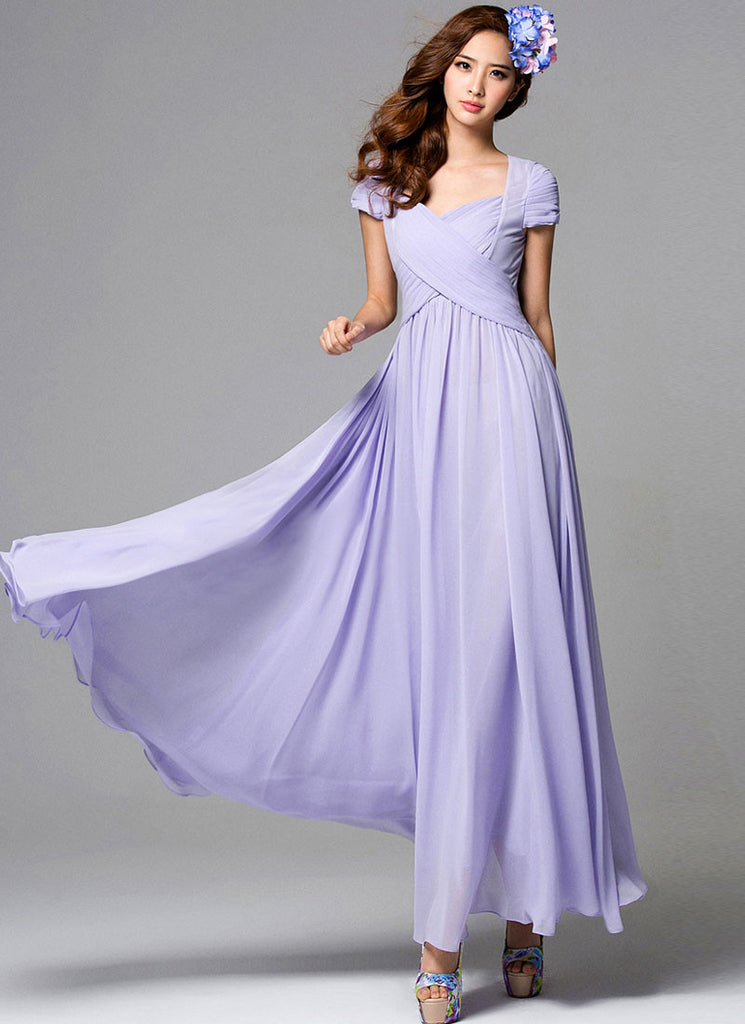 Thistle Maxi Dress with Pleated Bodice in Angled Crossing Shape