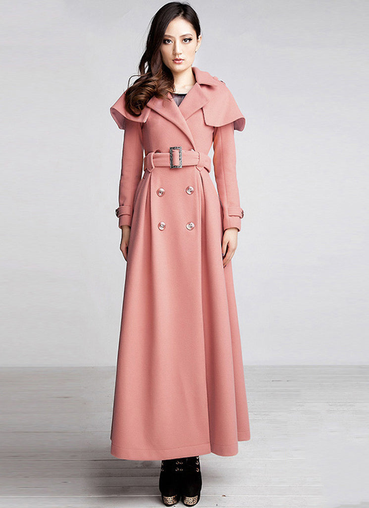 Double Breasted Coral Cashmere Wool Coat with Cloak