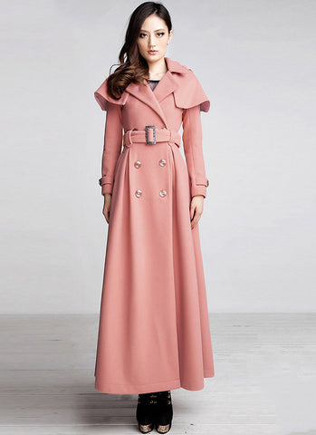 Double Breasted Coral Cashmere Wool Coat with Cloak RB1