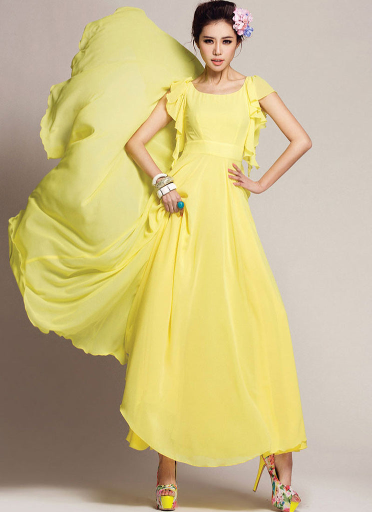 Yellow Maxi Dress with Waist Yoke and Modified Flutter Sleeves