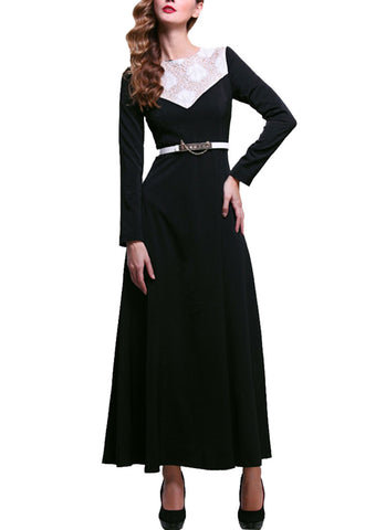 Black Maxi Dress with White Floral Lace Details on Front Bodice RM198