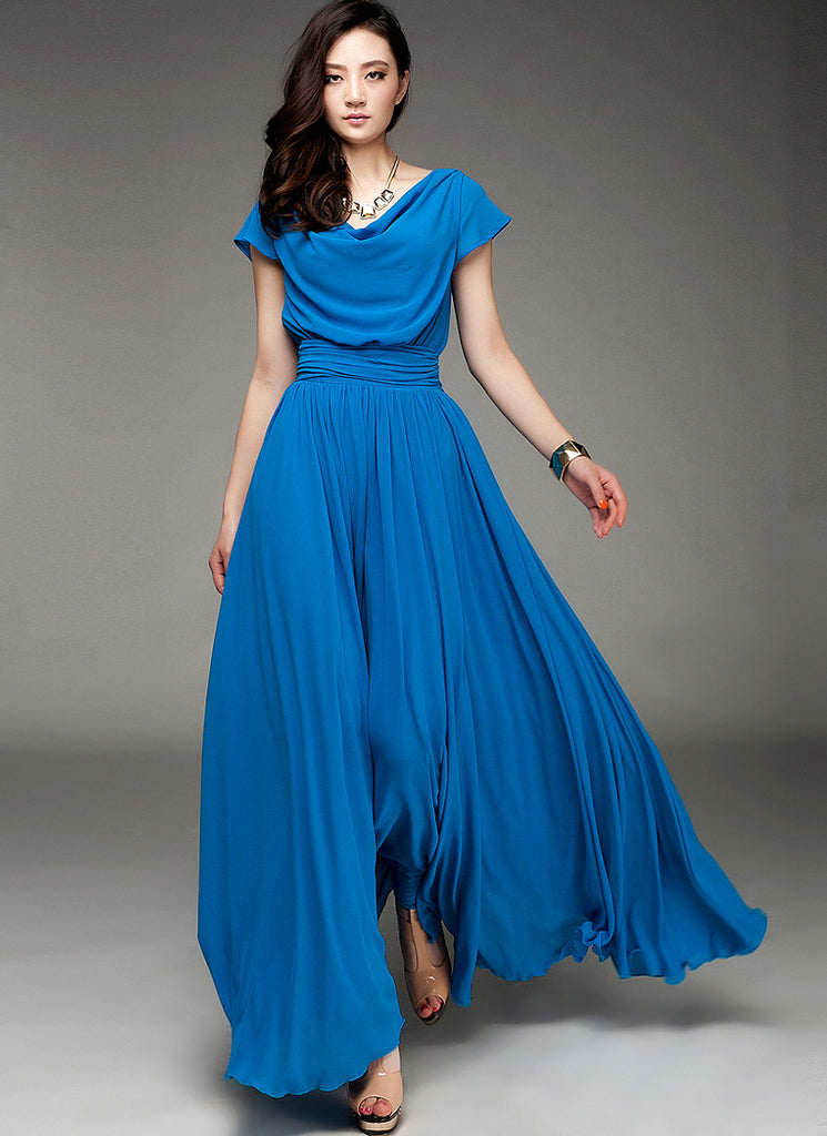 Blue Maxi Dress with Draped Neckline and Ruched Waist Yoke