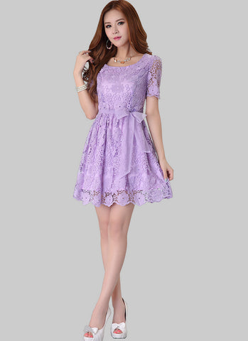Floral Embroidered Orchid Purple Lace Mini Dress RD243